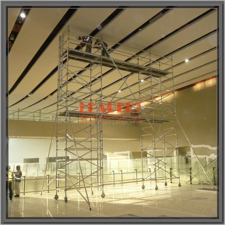 无须工具可搭建用于机场航站楼维修铝合金脚手架